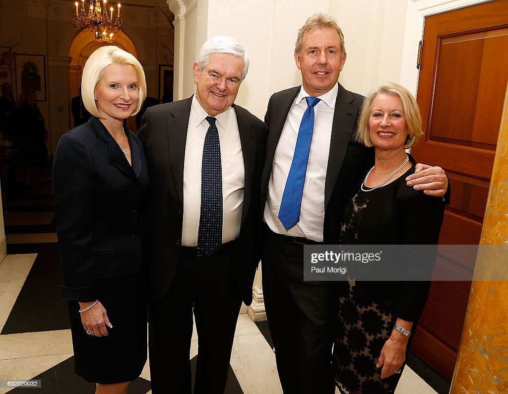 Calista Gingrich, Newt Gingrich, British Ambassador Kim Darroch and Lady Vanessa Darroch pose for a photo at an Afternoon Tea hosted by the British Embassy to mark the U.S. Presidential Inauguration at The British Embassy on January 18, 2017 in Washington, DC.