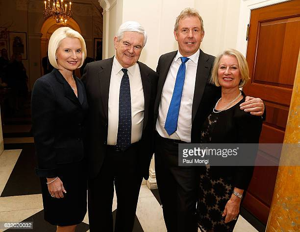 Calista Gingrich Newt Gingrich British Ambassador Kim Darroch and Lady Vanessa Darroch pose for a photo at an Afternoon Tea hosted by the British...