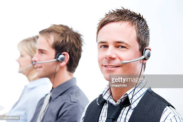 Call Center Employees Using Headsets Customer Service