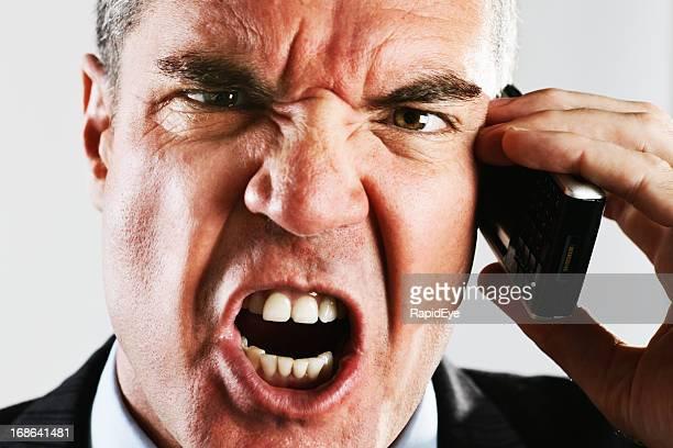 Call center Nervenzusammenbruch: Wütend Geschäftsmann verkündet in Handy