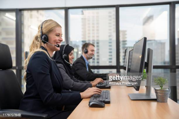call center workers - cross section stock pictures, royalty-free photos & images