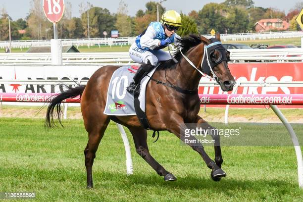 Call It a Day ridden by Jessica Eaton wins the No Fuss Events Handicap at Caulfield Racecourse on April 13 2019 in Caulfield Australia