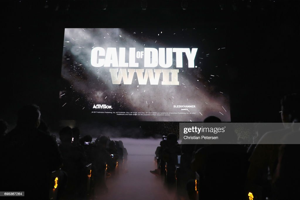 'Call of Duty WWII'' is displayed during the Sony Playstation E3 conference at the Shrine Auditorium on June 12, 2017 in Los Angeles, California. The E3 Game Conference begins on Tuesday June 13.