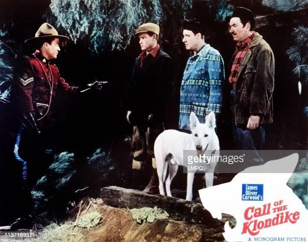 Kirby Grant Tom Neal Chinook the Wonder Dog far right Pat Gleason on lobbycard 1950