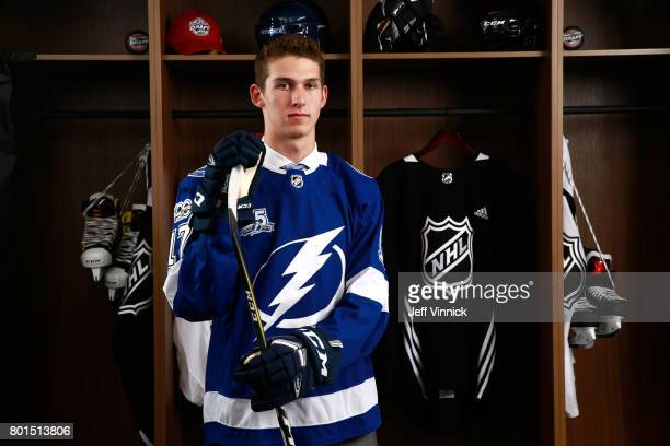Callan Foote 14th overall of the Tampa Bay Lightning poses for a portrait during Round One of the 2017 NHL Draft at United Center on June 23 2017 in...