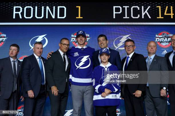 Callan Foote poses for photos after being selected 14th overall by the Tampa Bay Lightning during the 2017 NHL Draft at the United Center on June 23...