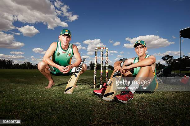 Callan Morse and Rhys French of Tasmania pose for a photo on day 1 of the National Indigenous Cricket Championships on February 8 2016 in Alice...