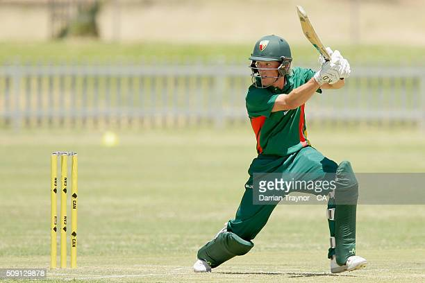 Callan Morse of Tasmania bats against Western Australia during day 2 of the National Indigenous Cricket Championships on February 9 2016 in Alice...