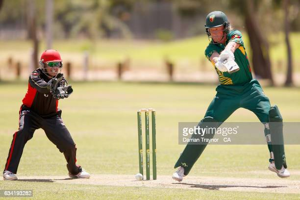 Callan Morse of Tasmania bats during the National Indigenous Cricket Championships match between South Australia and Tasmania on February 8 2017 in...