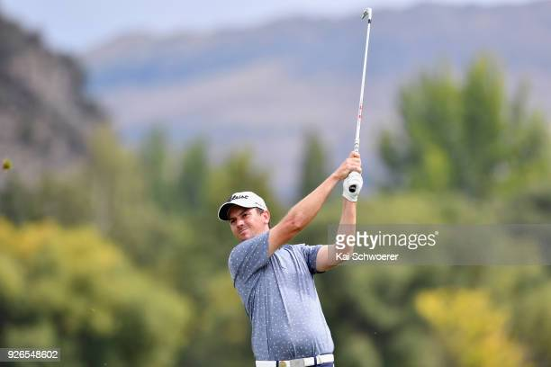 Callan O'Reilly of Australia plays a shot during day three of the ISPS Handa New Zealand Golf Open at Millbrook Golf Resort on March 3 2018 in...