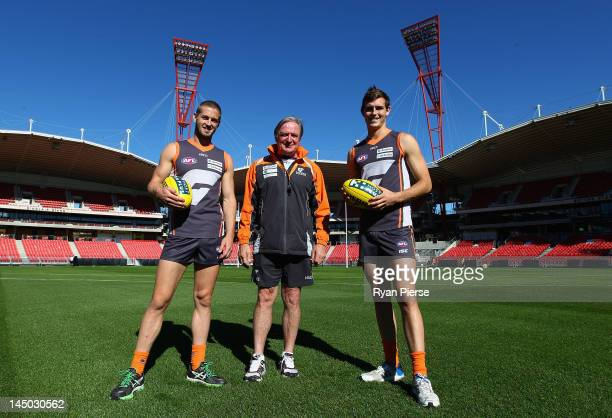 Callan Ward, Kevin Sheedy and Phil Davis of the Giants pose at the official opening of SKODA Stadium at Sydney Olympic Park Sports Centre on May 23,...