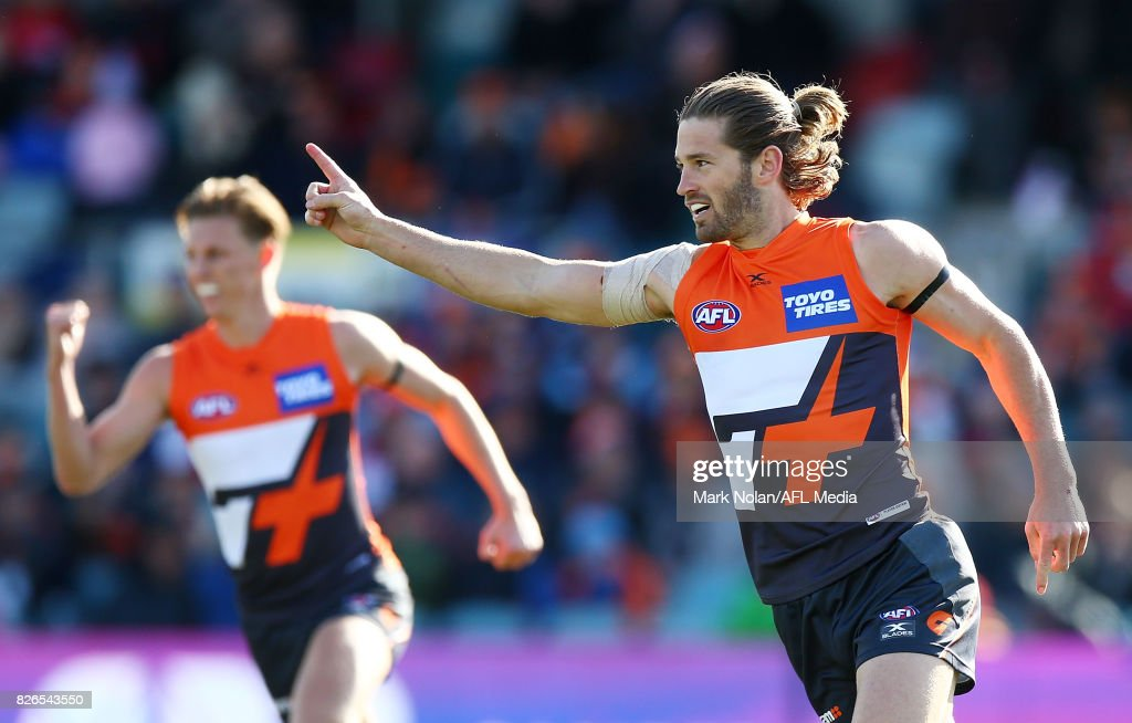 Callan Ward of the Giants celebrates a goal during the round 20 AFL match between the Greater Western Sydney Giants and the Melbourne Demons at UNSW Canberra Oval on August 5, 2017 in Canberra, Australia.
