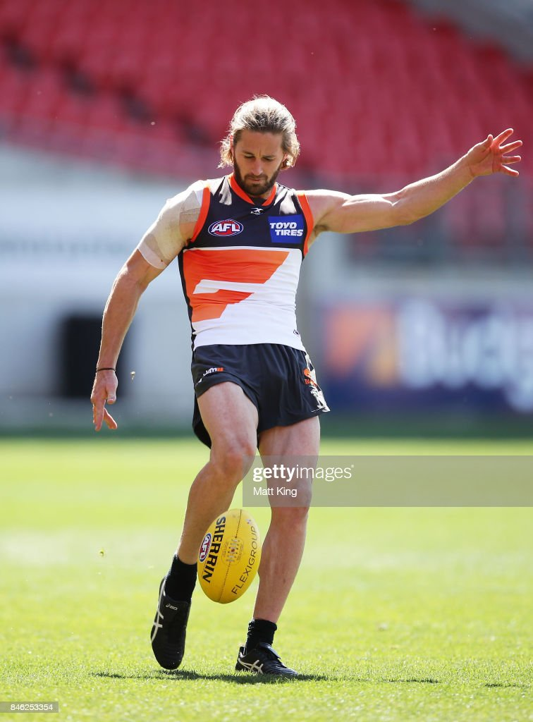 Callan Ward of the Giants kicks during the Greater Western Sydney Giants AFL training session at Spotless Stadium on September 13, 2017 in Sydney, Australia.
