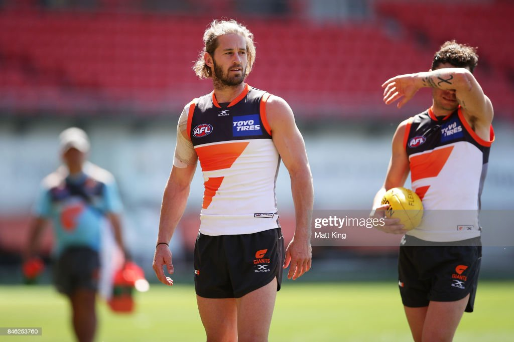 Callan Ward of the Giants looks on during the Greater Western Sydney Giants AFL training session at Spotless Stadium on September 13, 2017 in Sydney, Australia.