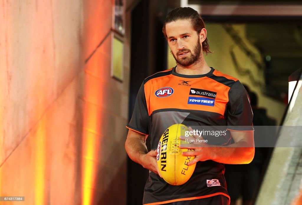 Callan Ward of the Giants prepares before the round six AFL match between the Greater Western Sydney Giants and the Western Bulldogs at UNSW Canberra Oval on April 28, 2017 in Canberra, Australia.