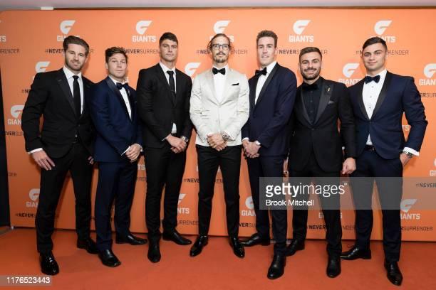 Callan Ward, Toby Greene, Johnathon Paton, Phil Davis, Jeremey Cameron, Stephen Cogniglio and Tim Taranto arrive at the Greater Western Sydney Giants...