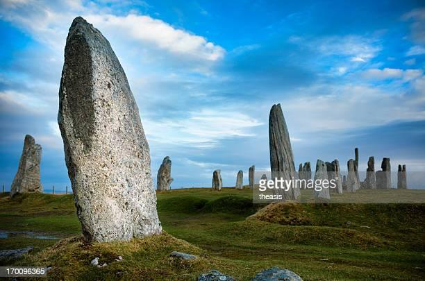 megalithsteine von callanish, isle of lewis - theasis stock-fotos und bilder