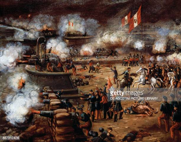 Callao fort attacking the Spanish fleet that had occupied the Chincha Islands May 2 painting Peru 19th century