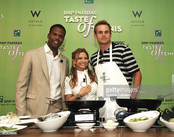 Callaway Chef Ingrid Hoffman and tennis player Andy Roddick attend the 9th Annual BNP Paribas Taste of Tennis at the W New York Hotel on August 21...