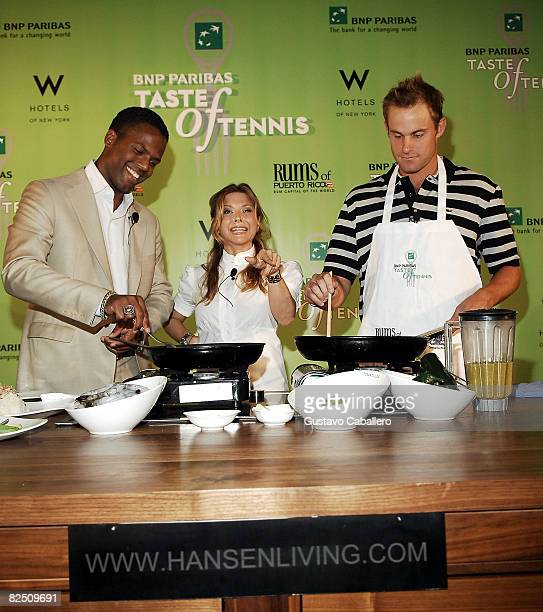CallawayChef Ingrid Hoffman and tennis player Andy Roddick attend the 9th Annual BNP Paribas Taste of Tennis at the W New York Hotel on August 21...