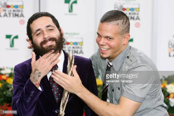Calle 13 members Eduardo Visitante Cabra and Rene Residente Perez attend the 2007 Billboard Latin Music Awards at the Bank United Center April 26...