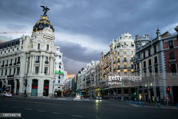 calle Alcala is empty as the country works to stop the spread of the coronavirus on March 15 2020 in Madrid Spain The cases in Madrid are reportedly...