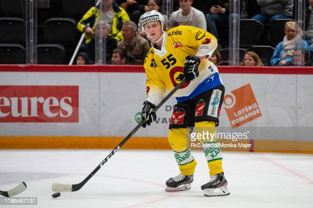 Calle Andersson of SC Bern in action during the Swiss National League game between Lausanne HC and SC Bern at Vaudoise Arena on November 1, 2019 in...