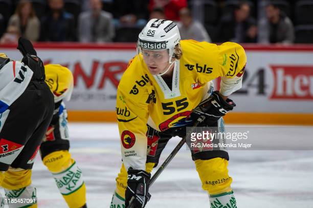 Calle Andersson of SC Bern looks on during the Swiss National League game between Lausanne HC and SC Bern at Vaudoise Arena on November 1, 2019 in...