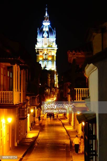 Calle de Don Sancho at night, Colourful Clock Tower of the Cathedral of Cartagena, Night, Cartagena Colombia