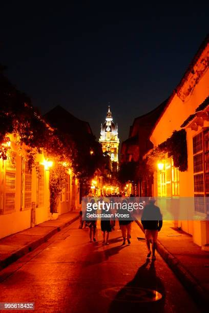 Calle de Don Sancho with people at Night, Cartagena, Colombia