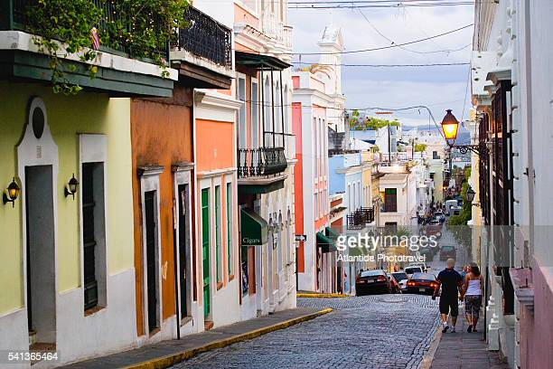 calle del cristo in old san juan - old san juan stock pictures, royalty-free photos & images