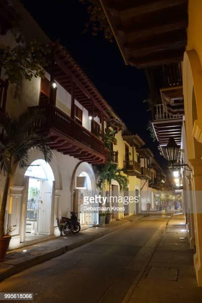 Calle del Estanco del Tabaco Street, Historic Cartagena at night, Colombia