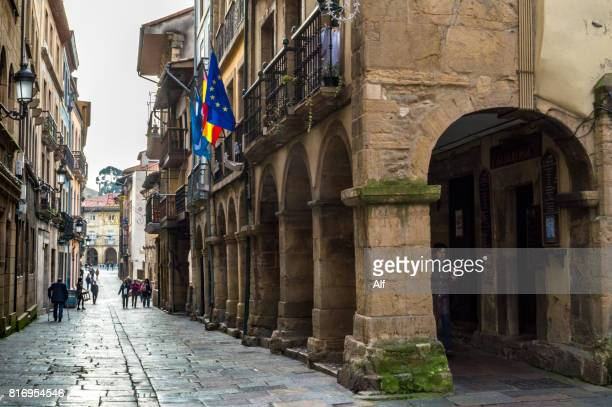 Calle Ferrería in the old town of Avilés, Asturias, Spain