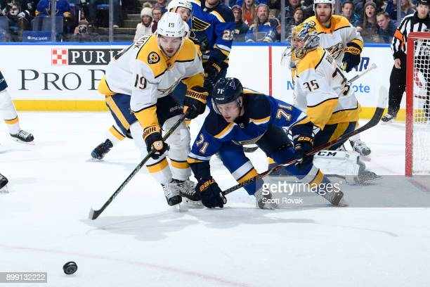 Calle Jarnkrok of the Nashville Predators and Vladimir Sobotka of the St Louis Blues look for control of the puck at Scottrade Center on December 27...