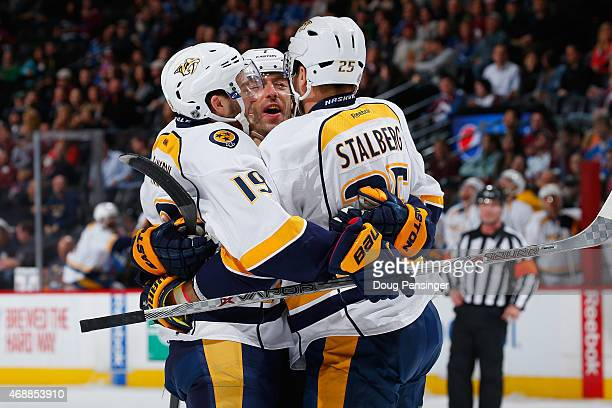 Calle Jarnkrok of the Nashville Predators celebrates his goal against the Colorado Avalanche as Matt Cullen and Viktor Stalberg of the Nashville...