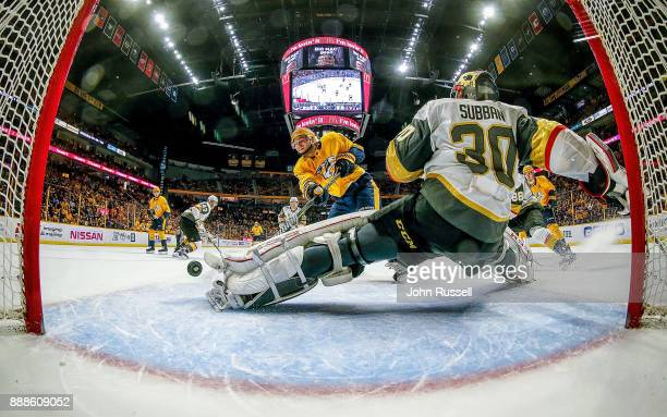 Calle Jarnkrok of the Nashville Predators scores against Malcolm Subban of the Vegas Golden Knights in the second period during an NHL game at...