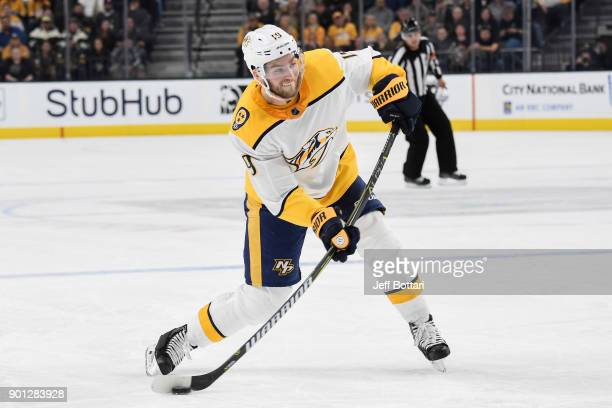 Calle Jarnkrok of the Nashville Predators shoots the puck against the Vegas Golden Knights during the game at TMobile Arena on January 2 2018 in Las...