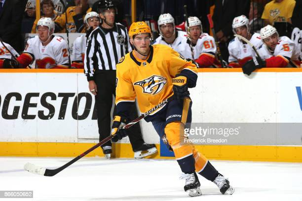 Calle Jarnkrok of the Nashville Predators skates against the Calgary Flames during the first period at Bridgestone Arena on October 24 2017 in...
