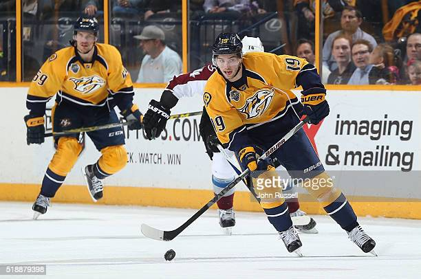 Calle Jarnkrok of the Nashville Predators skates against the Colorado Avalanche during an NHL game at Bridgestone Arena on March 28 2016 in Nashville...