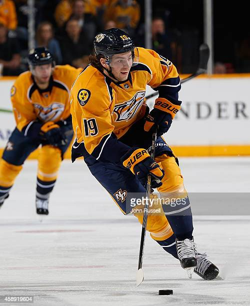 Calle Jarnkrok of the Nashville Predators skates against the Edmonton Oilers at Bridgestone Arena on November 11 2014 in Nashville Tennessee