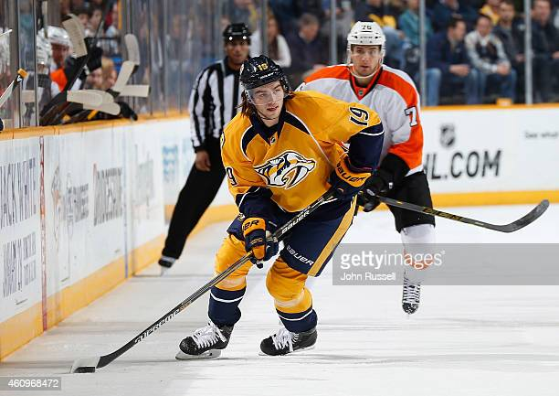 Calle Jarnkrok of the Nashville Predators skates against the Philadelphia Flyers at Bridgestone Arena on December 27 2014 in Nashville Tennessee