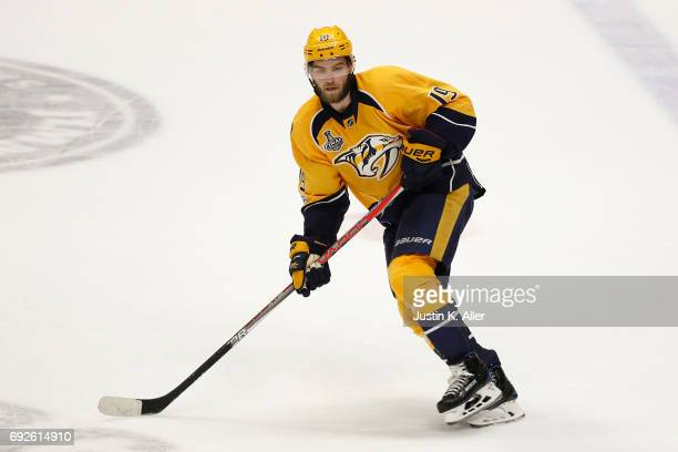 Calle Jarnkrok of the Nashville Predators skates against the Pittsburgh Penguins in Game Three of the 2017 NHL Stanley Cup Final at Bridgestone Arena...