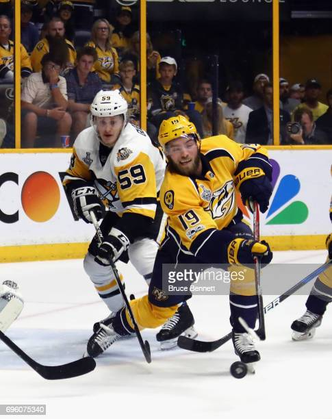 Calle Jarnkrok of the Nashville Predators skates against the Pittsburgh Penguins in Game Six of the 2017 NHL Stanley Cup Final at the Bridgestone...