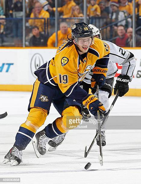 Calle Jarnkrok of the Nashville Predators skates against the Los Angeles Kings at Bridgestone Arena on November 25 2014 in Nashville Tennessee