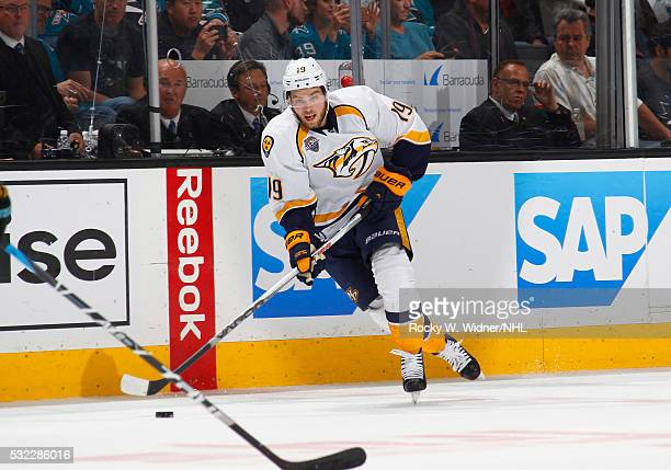 Calle Jarnkrok of the Nashville Predators skates with the puck against the San Jose Sharks in Game Seven of the Western Conference Semifinals during...
