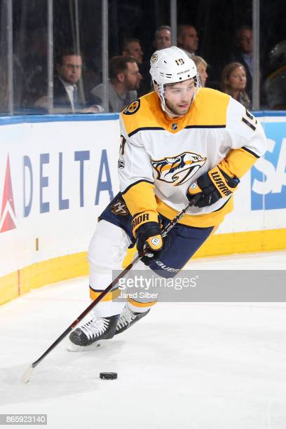 Calle Jarnkrok of the Nashville Predators skates with the puck against the New York Rangers at Madison Square Garden on October 21 2017 in New York...