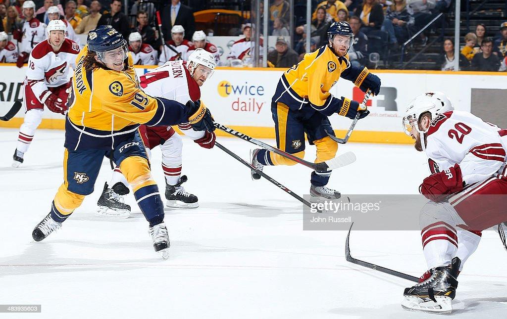 Calle Jarnkrok #19 of the Nashville Predators takes a slapshot against the Phoenix Coyotes during an NHL game at Bridgestone Arena on April 10, 2014 in Nashville, Tennessee.