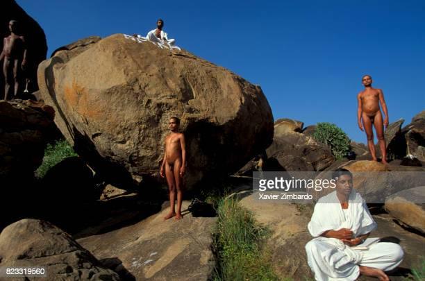SHRAVANABELAGOLA KARNATAKA INDIA DECEMBER 19 Called Muni Digambara said to be clothed by space sky or light naked Jain monks meditating in nature...