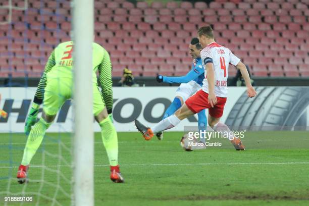 Callejon and Orban in action during football match between Napoli Lipsia Napoli lost the match 13 to Lipsia