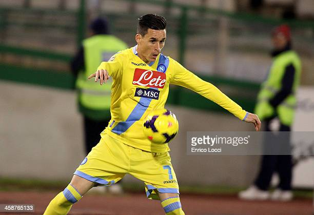 Callejon Josè Maria of Napoli in action during the Serie A match between Cagliari Calcio and SSC Napoli at Stadio Sant'Elia on December 21 2013 in...